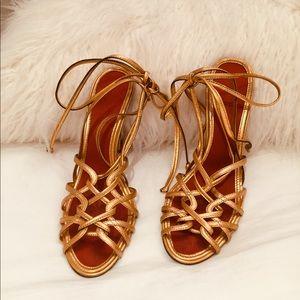 Gold Ankle Strap Heel Sandals BCBGMAXAZRIA